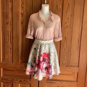 Floral Watercolor Print Skater / Fit n Flare Skirt